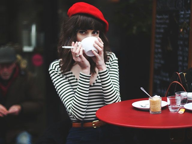 beret parisian woman